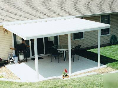 10x12 aluminum flat pan awning patio cover car port for Car patio covers