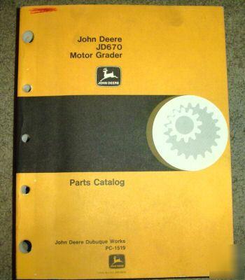 John deere 670 motor grader parts catalog manual jd for John deere motor grader parts
