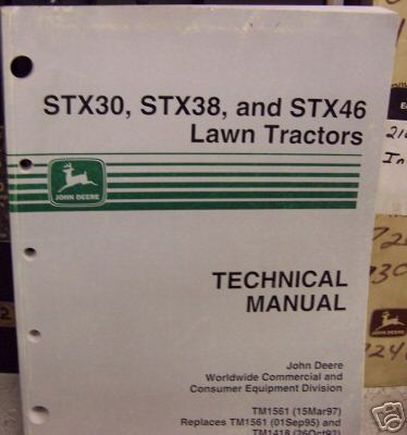 john deere stx30 38 and 46 lawn tractor repair manual. Black Bedroom Furniture Sets. Home Design Ideas
