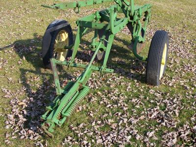 Two bottom plow with coulters