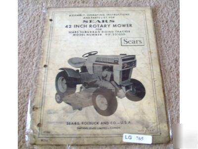 Sears 42 inch rotary mower operator parts catalog