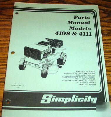 Simplicity 4108 Amp 4111 Lawn Tractor Parts Catalog Book