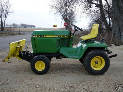 john deere 420 compact garden tractor mower plow 3point