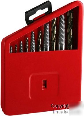 Cobalt Drill Bit Set >> 10PC cobalt screw bolt easy out extractor set tool kit