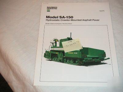 Barber-greene model sa-150 asphalt paver brochure