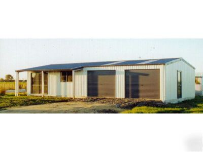 Steel house with porch garage shop metal building kit